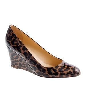 Jcrew Martina Patent Leather Leopard Wedge